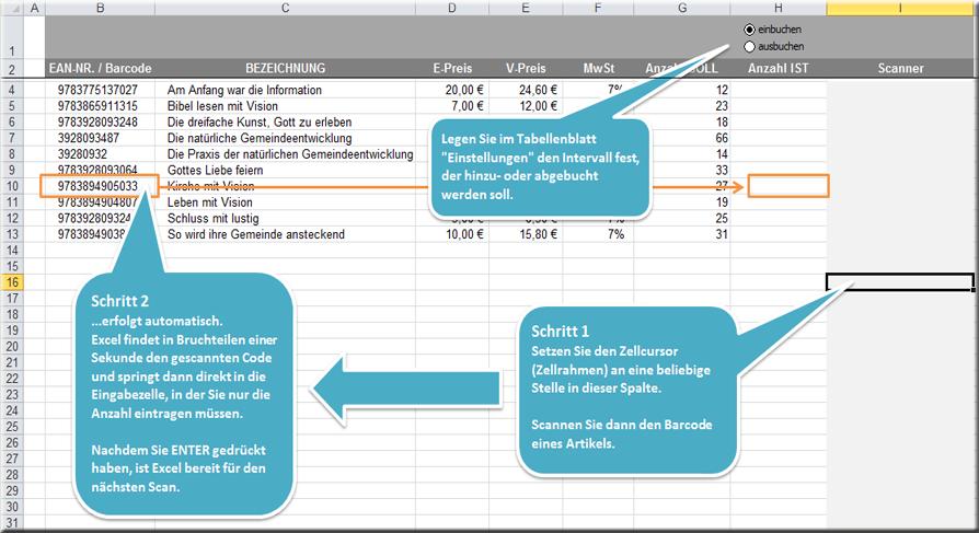 Excel Inventurliste Bestandsaktualisierung Per Barcode