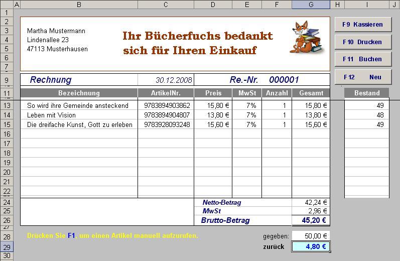 Excel Kassensoftware Mit Barcodeanbindung